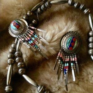 Jewelry - SOUTHWESTERN MULTI-STONE STERLING SILVER EARRINGS